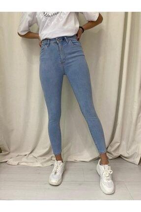 Kadın Mavi Yüksek Bel Dar Paça Jeans ETCButik_PNT5077