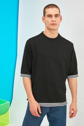 TRENDYOL MAN Siyah Erkek Oversize Şerit Detaylı Sweatshirt TMNSS21SW0243 0