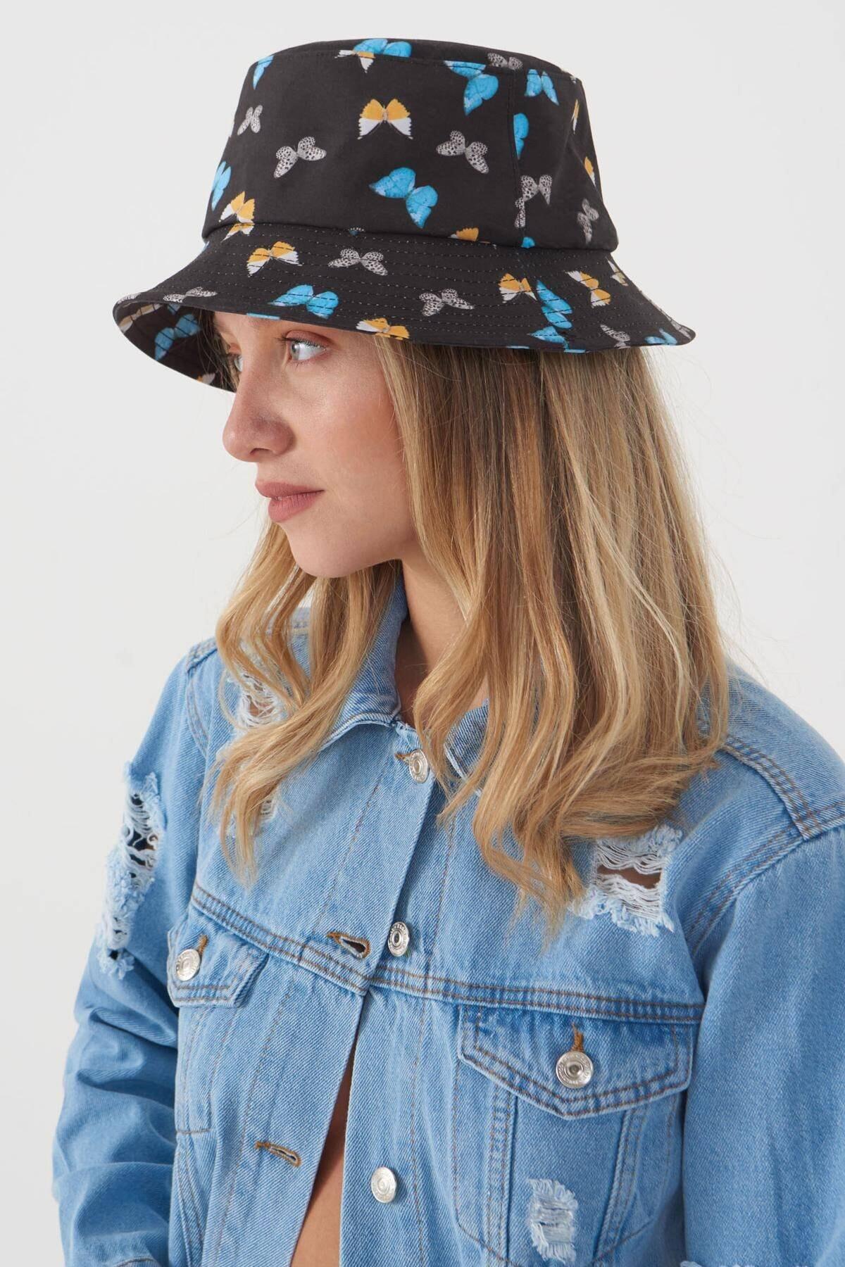 Addax Kadın Siyah Mavi Şapka Şpk1045 - E1 Adx-0000023856 0