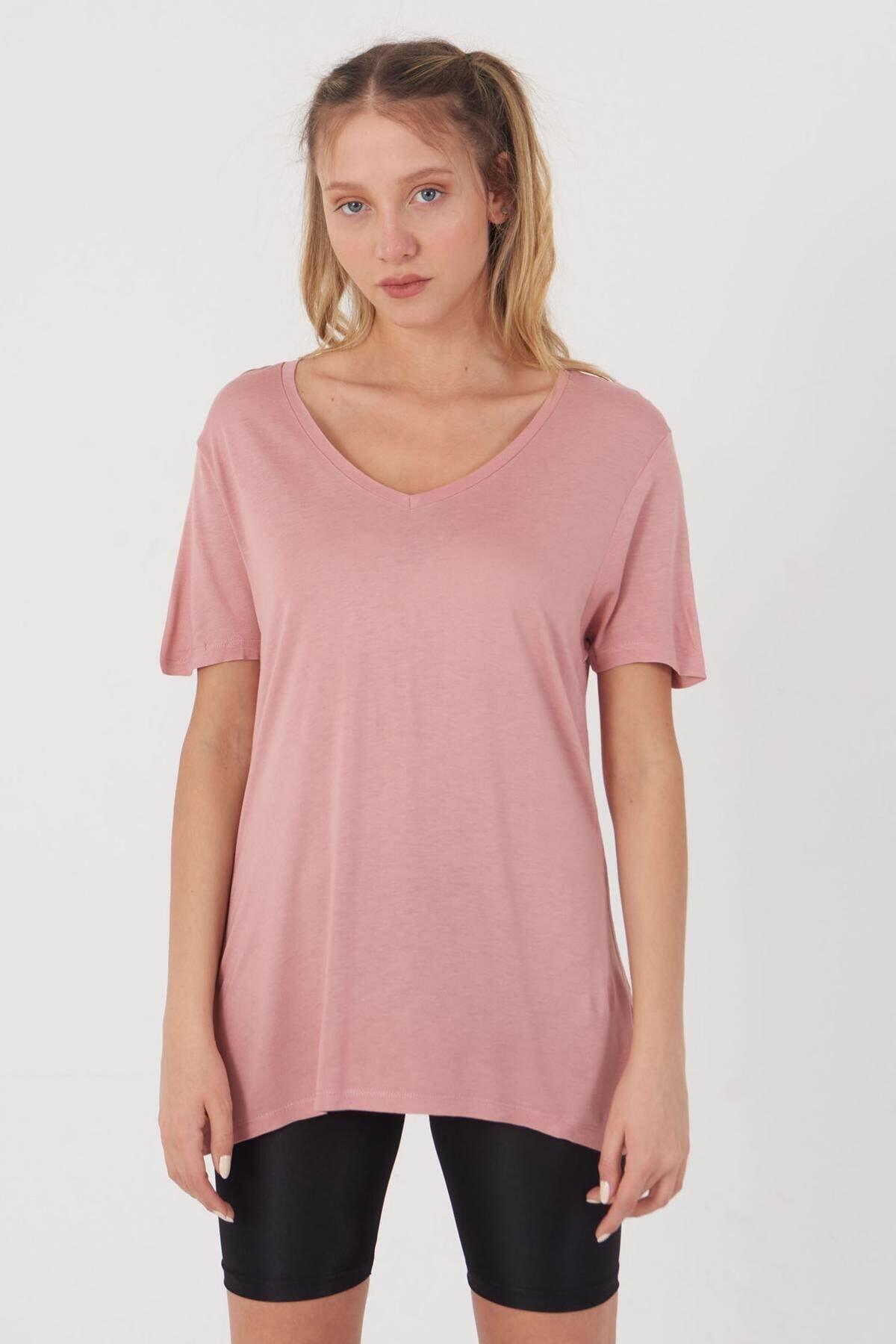 Addax Kadın Pudra V Yaka T-Shirt B0225 - L7 - L8 Adx-00008886 1