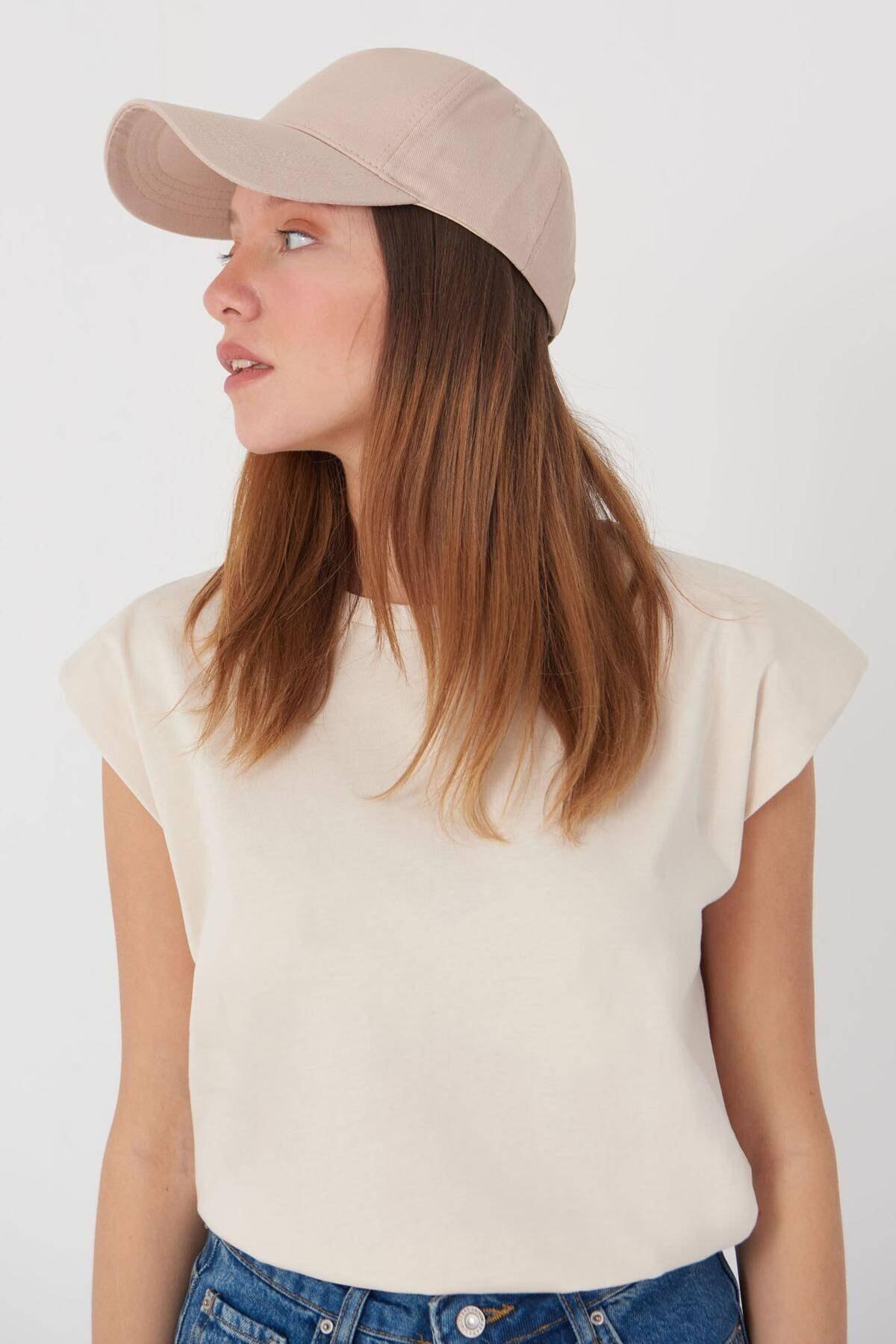 Addax Kadın Bej Unisex Şapka Şpk1007 - F1 Adx-0000022027 0
