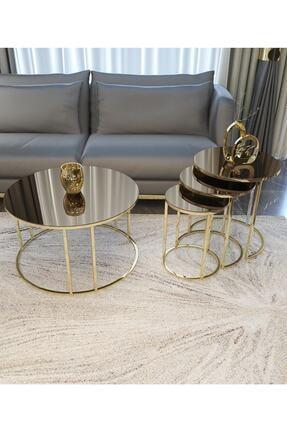Pukka Sehpa Zigon Ve Orta Sehpa Seti Gold Metal Ayak Bronz Aynalı Takım 0