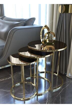 Pukka Sehpa Zigon Ve Orta Sehpa Seti Gold Metal Ayak Bronz Aynalı Takım 2