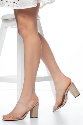 Muggo Krem Muggo W703 Şeffaf Kadın Topuklu Terlik 1