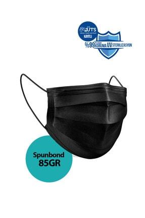 Sabomar Medizer Siyah Burun Telli  Full Ultrasonik Cerrahi Ağız Maskesi 3 Katlı Spunbond Kumaş 50 Adet 1