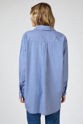 Happiness İst. Kadın Orta Mavi Çizgili Pamuklu Oversize Poplin Gömlek  FN02637 2