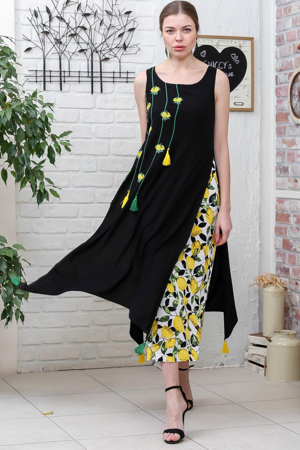 Kadın Siyah Limon Desenli Alt Ve Nakışlı Üst İkili Dokuma Elbise M10160000EL95593