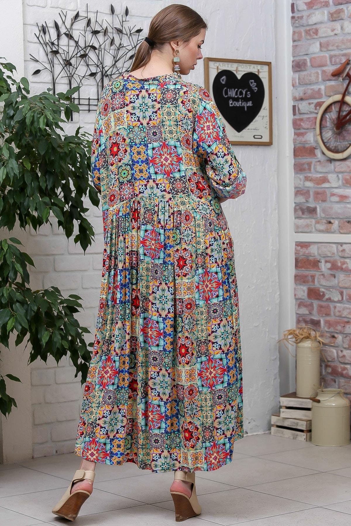 Chiccy Kadın Yeşil  Bohem Ottoman Desenli Ahşap Düğmeli Büzgülü Salaş Elbise M10160000EL95584 3