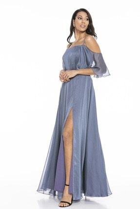 Abiye Sarayı Kadın Mavi Askılı Yırtmaç Detaylı Şifon Elbise 1