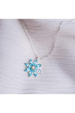 Luz Silver Kadın Papatya Kolye Aquamarin 925 Ayar Gümüş Silver/kaplamasız 4