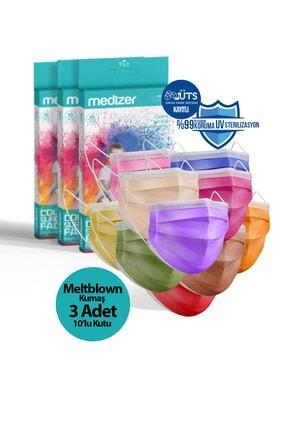 Sabomar Medizer Color Serisi Renkli Full Ultrasonik Cerrahi Ağız Maskesi 3 Katlı 10'lu 3 Kutu - Burun Telli 0