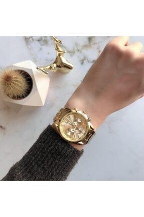 OQQO Kadran Tasarımlı Metal Altın Kadın Kol Saati 0
