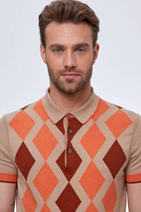 Hemington Erkek Bej Baklava Desen  Triko Polo T-shirt 4