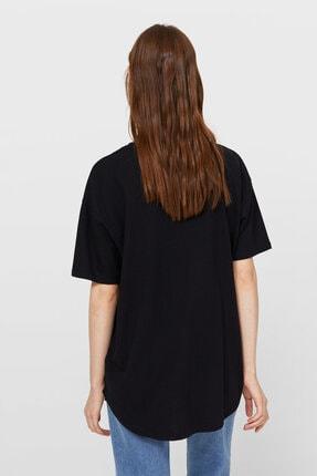 Stradivarius Kadın Siyah Uzun Basic T-shirt 1