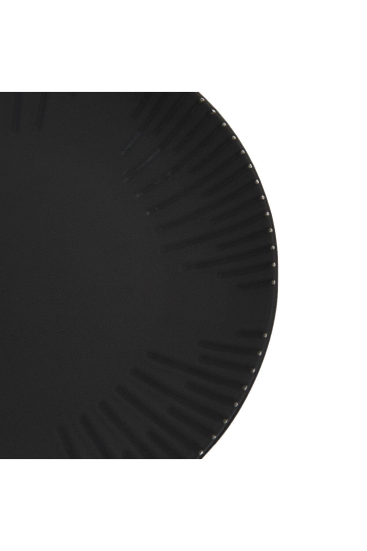 Tulü Porselen Tulu Porselen Mat Siyah Servis Tabağı - 24 Cm