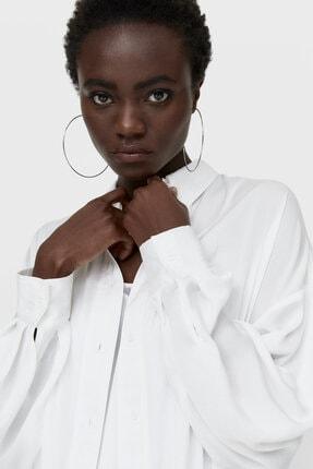 Stradivarius Kadın Beyaz Saten Gömlek 4