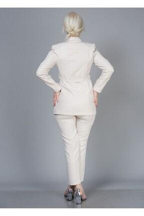 Alta Moda Kadın Krem Double Kumaş Ikili Takım Ceket Pantolon 3