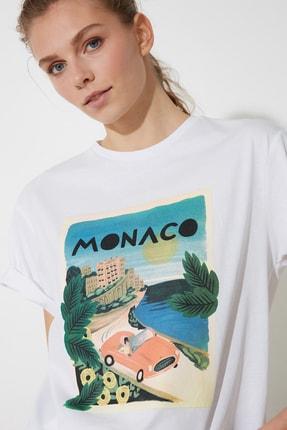تصویر از Beyaz Baskılı Boyfriend Örme T-Shirt TWOSS20TS0491