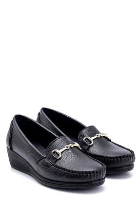 Derimod Kadın Siyah Dolgu Topuklu Loafer Ayakkabı 3