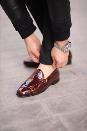 Erkek Bordo Rugan Çift Toka Ayakkabı Bordo Rugan Ayakkabı