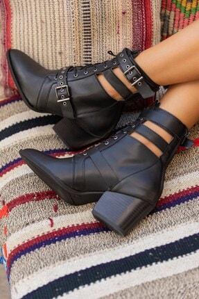 LuviShoes 1717 Siyah Mat Kadın Bot 2
