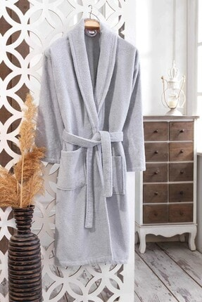 Elmira Textile Unisex Gri Pamuklu Şal Yaka Bornoz 530 0