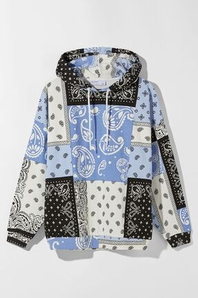 Bershka Kadın Mavi Kapüşonlu Sweatshirt 4