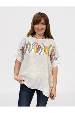 Keten Trendy Desenli Beyaz Gömlek Bluz trendmla3