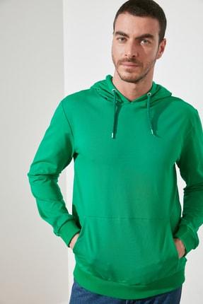 TRENDYOL MAN Zümrüt Yeşili Erkek Regular Fit Kapüşonlu Kanguru Cepli Uzun Kollu Sweatshirt TMNAW20SW0162 0