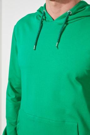 TRENDYOL MAN Zümrüt Yeşili Erkek Regular Fit Kapüşonlu Kanguru Cepli Uzun Kollu Sweatshirt TMNAW20SW0162 2