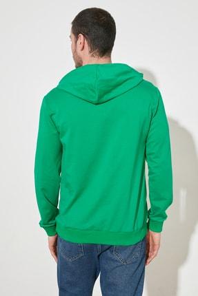 TRENDYOL MAN Zümrüt Yeşili Erkek Regular Fit Kapüşonlu Kanguru Cepli Uzun Kollu Sweatshirt TMNAW20SW0162 4