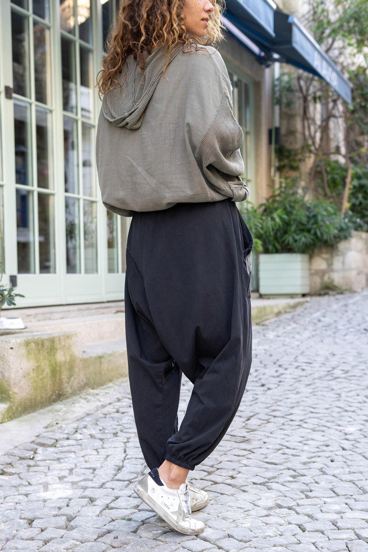 Güneşkızı Kadın Siyah Yıkamalı Zincir Detaylı Brode Detaylı Şalvar Pantolon GK-RSD2025 2