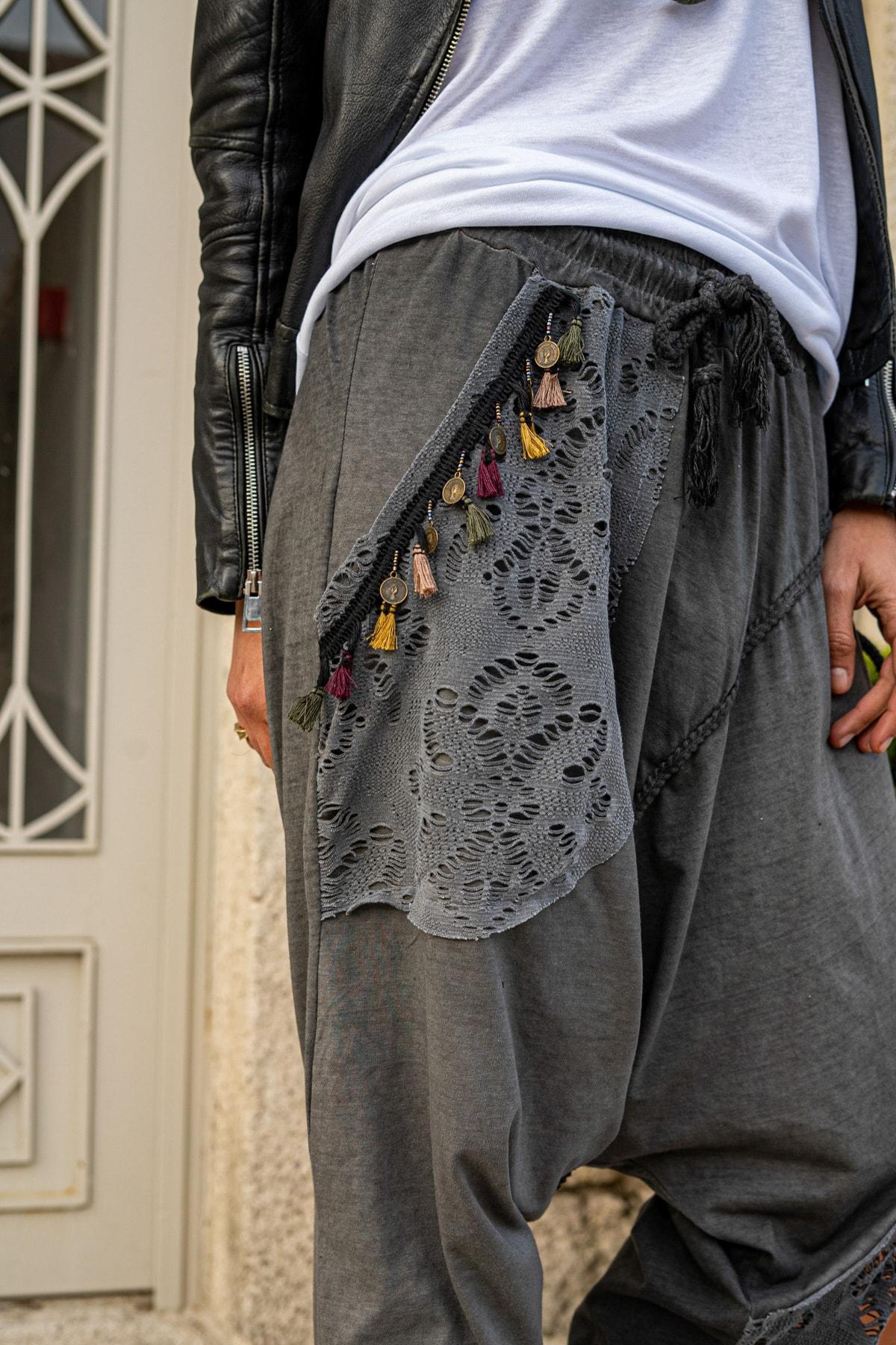 Güneşkızı Kadın Antrasit Yıkamalı Püsküllü Ajur Detaylı Şalvar Pantolon GK-RSD2024 1
