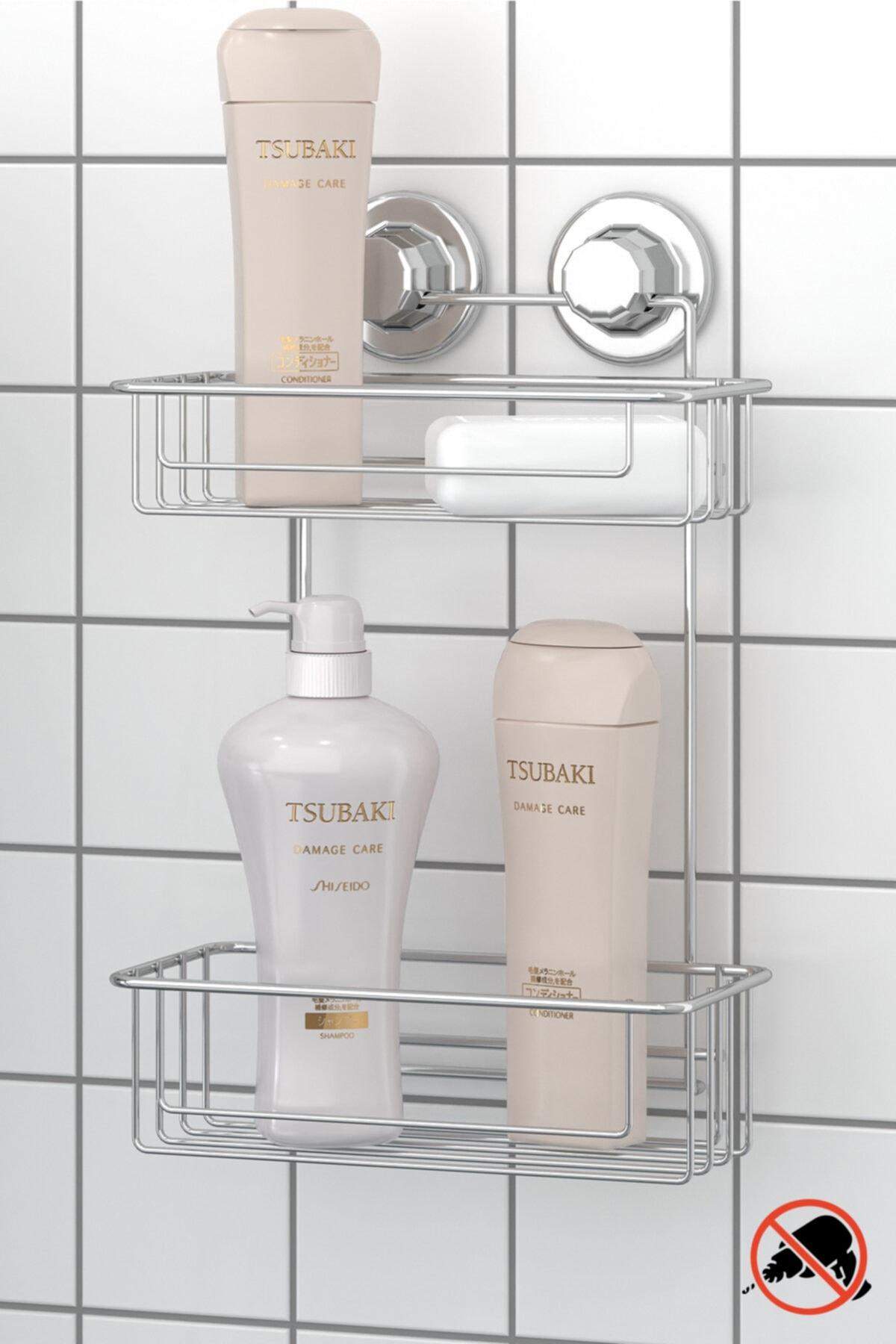 Vakumlu İki Katlı Banyo Duş Rafı Krom Dm256
