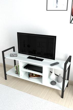 Bofigo Tv Sehpası Raflı Tv Ünitesi Televizyon Sehpası Beyaz 2