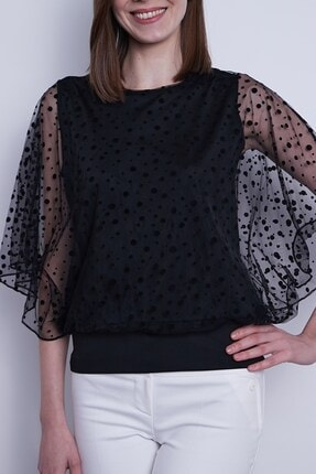 Jument Kadın Organze Desenli Tül Detaylı Kayık Yaka Yarasa Kol Bluz-Siyah Puan 4
