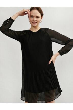 Koton Kadın Siyah Tül Pileli Uzun Kollu Elbise 1