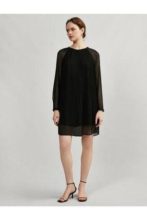 Koton Kadın Siyah Tül Pileli Uzun Kollu Elbise 2