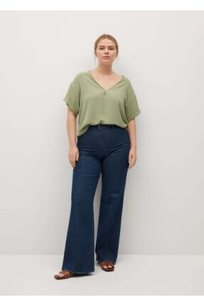 Mango Kadın Yeşil Kısa Kollu Bluz 1