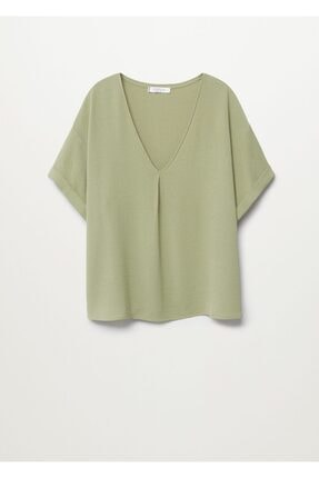 Mango Kadın Yeşil Kısa Kollu Bluz 2
