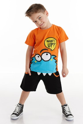Picture of Erkek Çocuk Turuncu Whatsup Monster Şort Takım