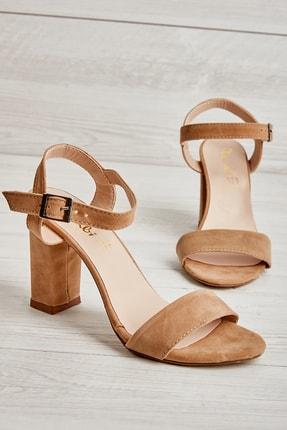 Bambi Bej Süet Kadın Klasik Topuklu Ayakkabı K05503740072 0