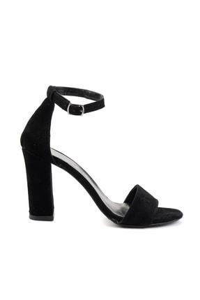 Bambi Siyah Süet Kadın Klasik Topuklu Ayakkabı K01503741072 1