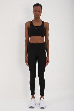 Tommy Life Siyah-siyah Kadın Simli Yüksek Bel Toparlayıcılı Çapraz Sırt Detaylı Tayt Takım - 95282 0