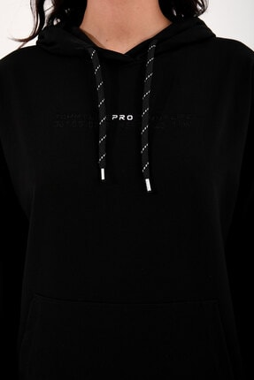 Tommy Life Siyah Kadın Kapüşonlu Kanguru Cep Oversize Lastik Paça Eşofman Takımı - 95288 3