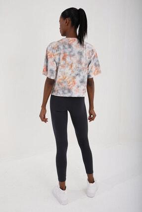 Tommy Life Turuncu Kadın Yazı Baskılı Karışık Batik Desenli Oversize O Yaka T-shirt - 97129 1