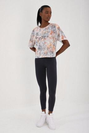 Tommy Life Turuncu Kadın Yazı Baskılı Karışık Batik Desenli Oversize O Yaka T-shirt - 97129 4