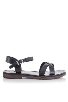 DaphneSandals El Yapımı Hakiki Deri Siyah Kadın Sandalet - 4003 1
