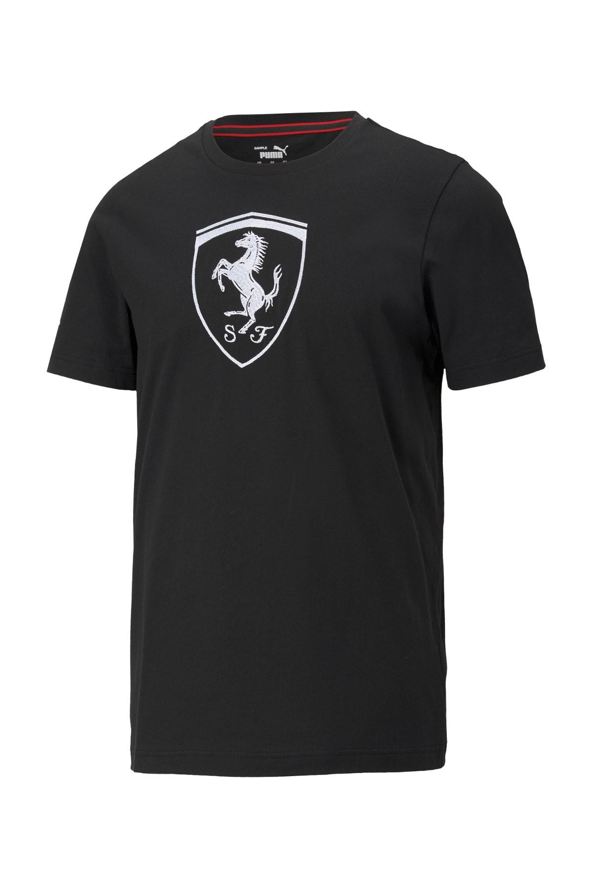 FERRARI RACE BIG SHIELD T Siyah Erkek T-Shirt 101085593