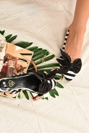 Fox Shoes Kadın Siyah Beyaz Kumaş Babet H726809004 1